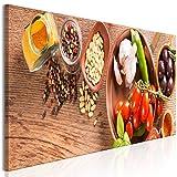 murando Cuadro en Lienzo Cocina 90x30 cm Impresión de 1 Pieza Material Tejido no Tejido Impresión Artística Imagen Gráfica Decoracion de Pared - Vegetales de Especias j-B-0074-b-a
