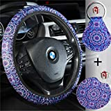 Sunflower Steering Wheel Cover for Women with Sunflower Car Cup Holder and Sunflower Key Ring- Cute Trendy and Fashionable Sunflower Steering Wheel Cover with Cute Sunflowers Anti Slip Universal Fit