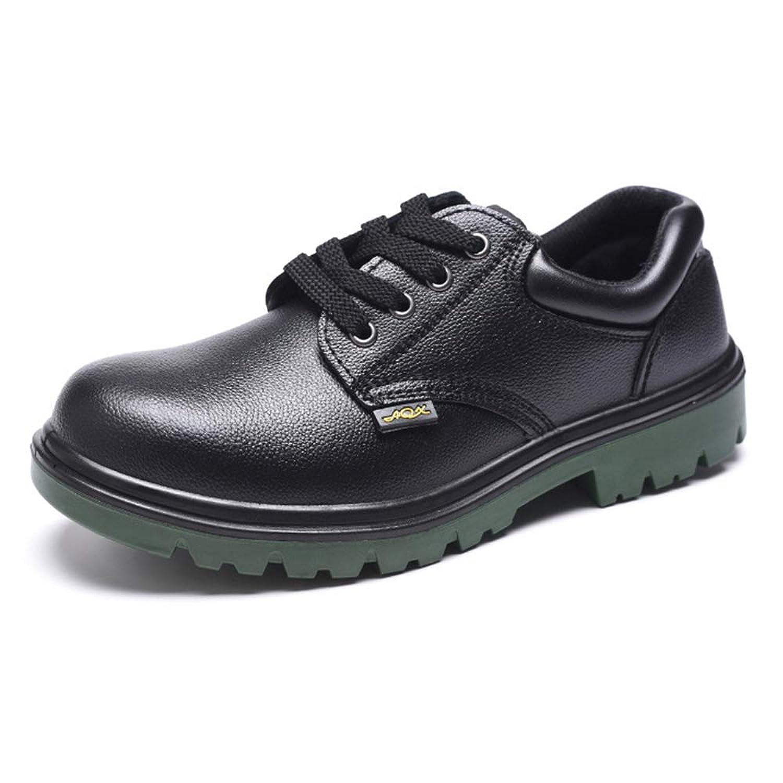 [Florai-JP] ワークブーツ 安全靴 メンズ 作業靴 レースアップシューズ 厚底 ローカット つまさき保護 先芯入り 鋼片付き 靴底防護 刺す叩く防止 耐滑 耐油 耐酸 耐磨耗 衝撃吸収 ブラック 黒 22.5-27.5cm