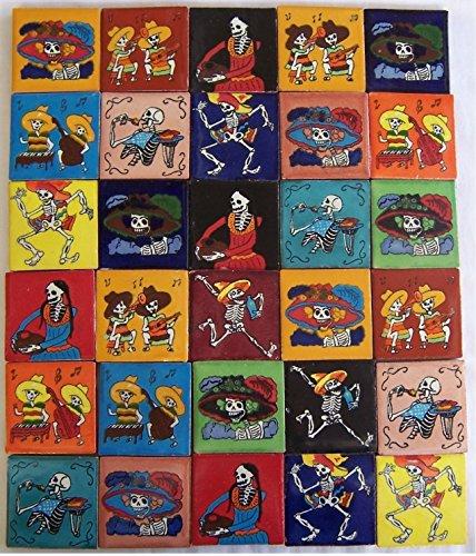 COLOR Y TRADICIÓN 30 Hand Painted Day of The Dead Mexican Talavera Tiles 2 x 2