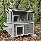 Outdoor Feral Cat House Wooden Kitty Shelter with Large Balcony,Escape Door,Waterproof