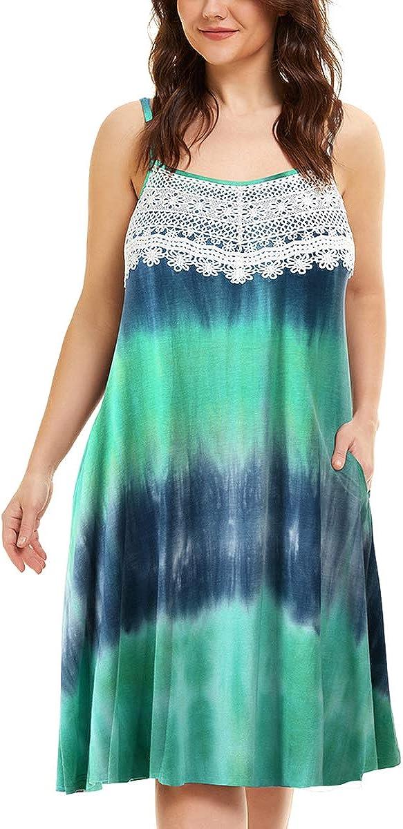 MONNURO Womens Chemise Lace Plus Size Pajama Sleep dress Adjustable Spaghetti Strap Nightgown with Pockets