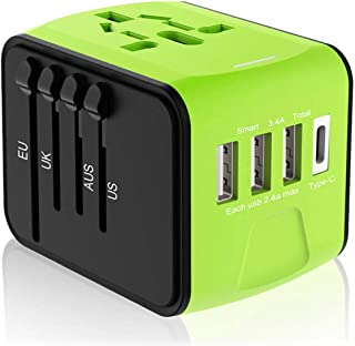 Disgian Travel Adapter, Universal International Power Adapter with 3 USB Port And Type-C International Wall Charger Worldwide AC Power Plug for Charger Phone Multi-nation Travel UK, EU, AU Over 200 Countries (Green)