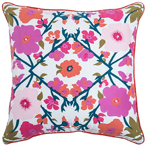 Rizzy Home Floral Decorativo Almohada, Blanco, 22x 22