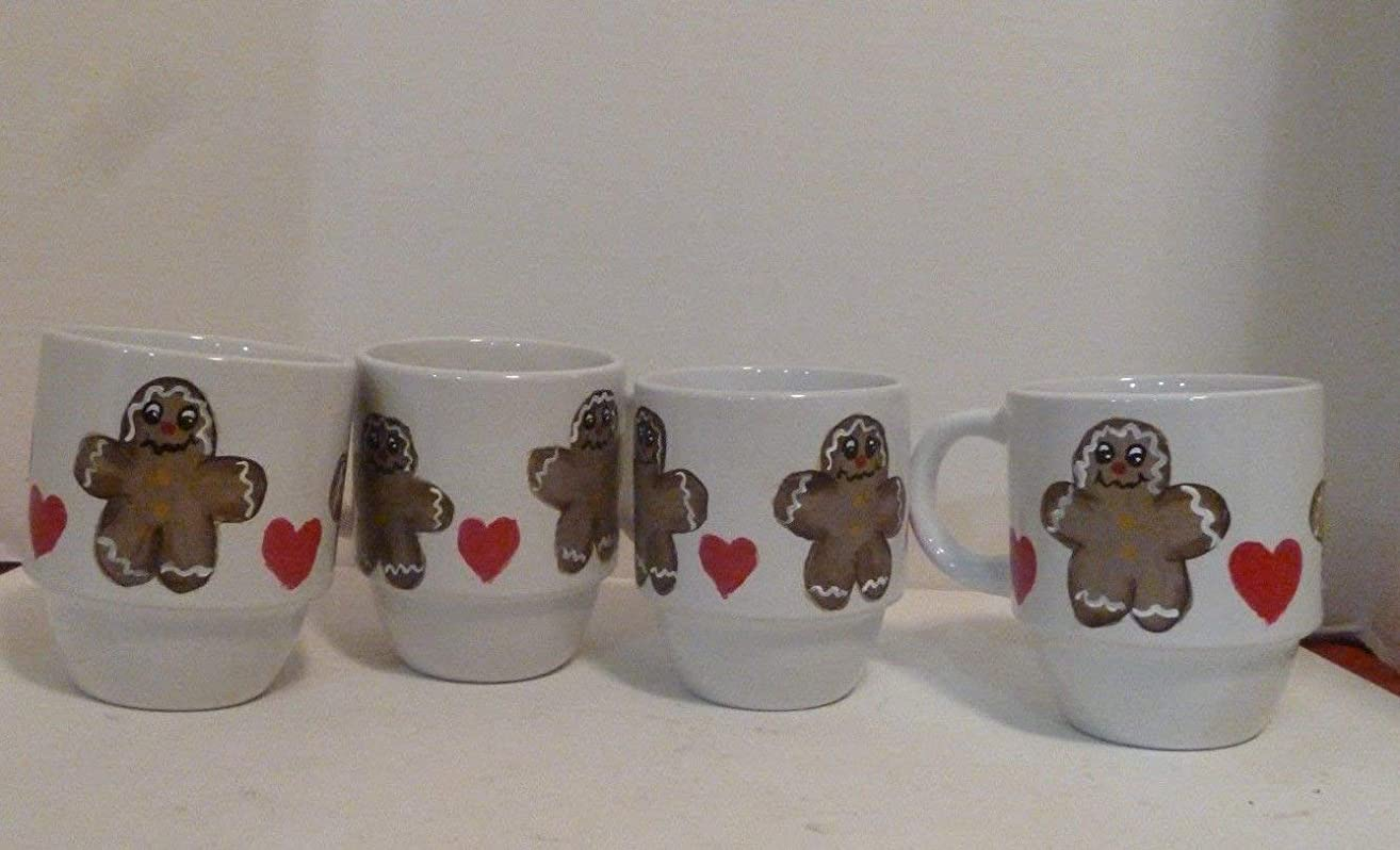 Hand Painted Gingerbread Man Coffee Mugs Set of 4