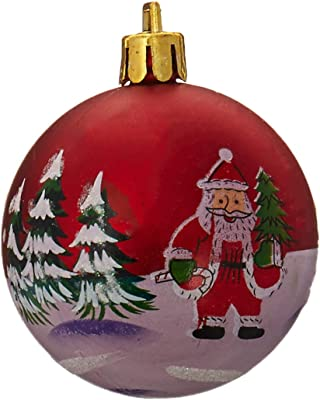 Queens of Christmas Piece Plastic Design, Red with Iridescent 20 Matte Ball Ornament with Santa Claus and Glitter, 50mm