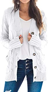 Goranbon Women's Cable Knit Cardigan Long Sleeve Open Front Button Down Knitwear Sweater Coat
