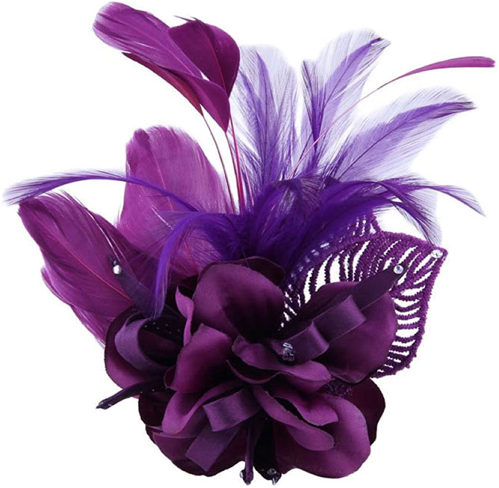 Women's Fascinator Feather Flower Hair Clip Pin Brooch Corsage Bridal Hairband Kentucky Derby Cocktail Party Wedding