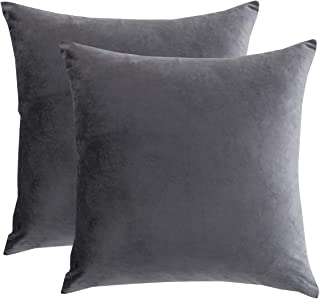 RainRoad Velvet Decorative Throw Pillow Covers Cushion Cover Pillow Case for Sofa Couch Bed Chair,Soft Square Gray Throw Pillows 18x18 Inch,Set of 2