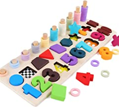 FJ Wooden Puzzle Number Count Matching Math Learning Educational Counting Building Blocks Kids Toys Jigsaw Montessori Early Learning Educational Toy Gift for 1 2 3 Year Old Toddler Baby Kids