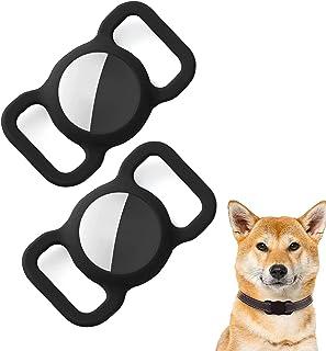 ペットシリコーン保護airtag gpsファインダー犬猫の首輪ループ、airtag犬の首輪ホルダー、bluetoothトラッカーカバーbluetoothファインダーケースペット子供高齢者のバッグ (Black)