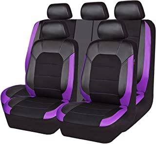 CAR PASS Leather and Mesh Universal Car Seat Covers,Airbag Compatible, for Sedans, Trucks,Suvs,Zipper Design(11PC, Black and Purple)