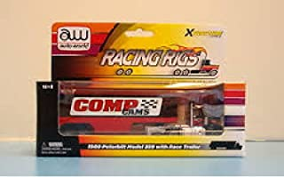 Auto World 93009 1980 Peterbilt Model 359 with Race Trailer Red Xtraction Ultra G HO Slot Car