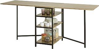SoBuy Table Pliante avec 2 Abattants et 3 étagères de Rangement, Table de Cuisine Rabattable, Table de Salle à Manger Plia...