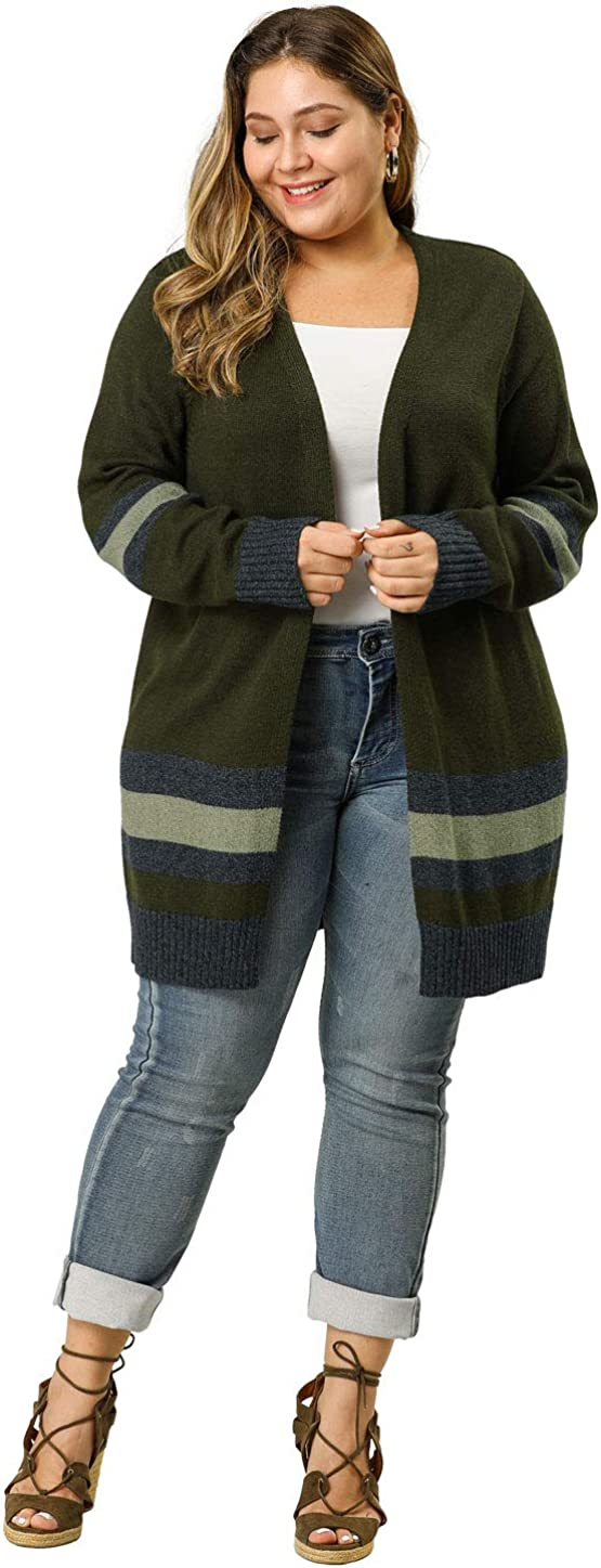 Agnes Orinda Women's Plus Size Striped Open Front Sweater Cardigan Mothers Day