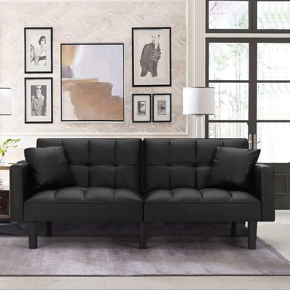 HOMHUM Modern Leather Convertible Futon Sofa Bed Folding Couch Recliner Adjustable Back with Arm Set for Living Room, Black