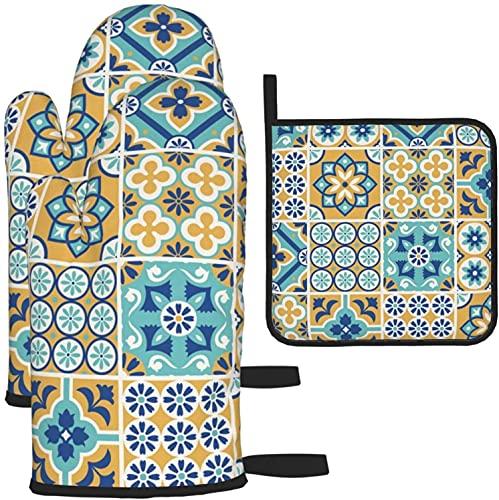MODORSAN Manoplas de Horno Guantes de Horno con Soporte Floral para Horno, diseño de patrón de azulejo dinámico.Ilustración Vectorial, Guantes de Horno y Juegos de ollas