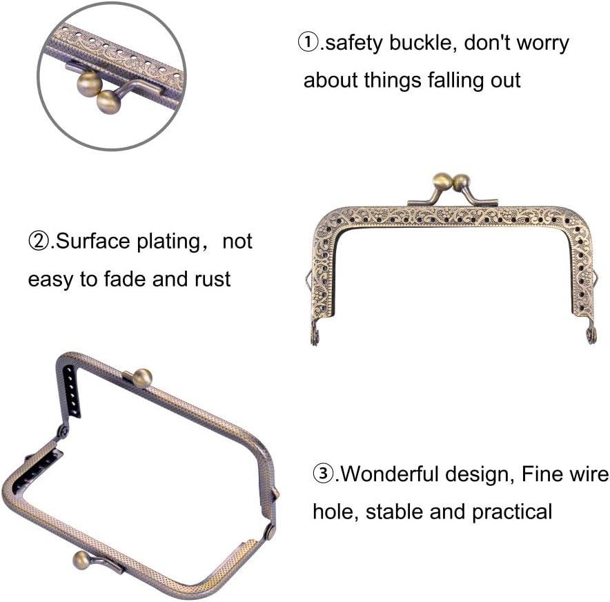 Frame Coin Purse for Bag Sewing DIY Craft Bronze, 10.5cm 5 PCS Metal Purse Frame Coin Bag Kiss Clasp Lock