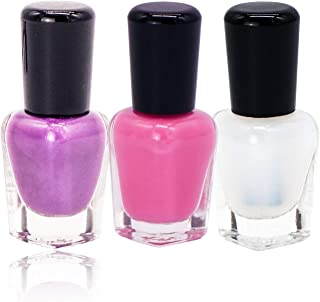 Nail Polish Set,Conisy Non Toxic Easy Peel Off Quick Dry Eco Friendly Water Based Nail Polish for Women and Girls - 3 Bottles (Light Purple + Light Pink + Clear Top Coat)