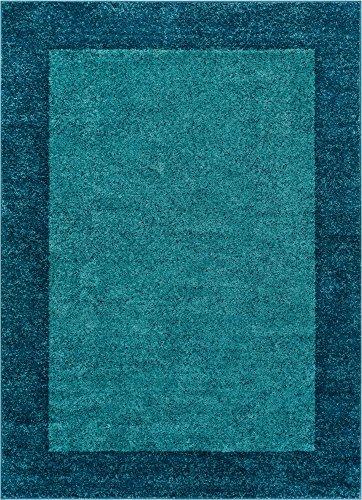 Well Woven Frontier Border Blue Modern Plain 8x11 (7'10