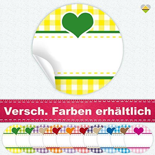 24 Aufkleber / Etiketten / Sticker | Landhausstil Kariert Herz | Rund | Ø 40 mm | Gelb/Grün | F00038-01 | Ohne Beschriftung! | CuteLove & Head-Beat