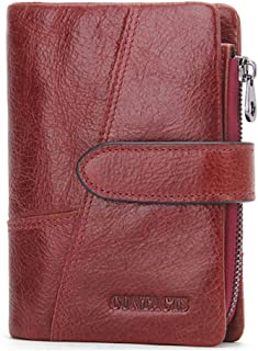 LDUNDUN-BAG, 2019 Leather Short Wallet Activity Zip Coin Purse Stitching Clutch Men's Wallet (Color : Red, Size : S)