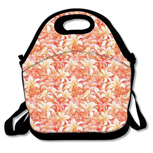 Fleur Lily Impression Rouge étanche Lunch Tote Sac Portable Picnic Lunch Box Conteneur de nourriture