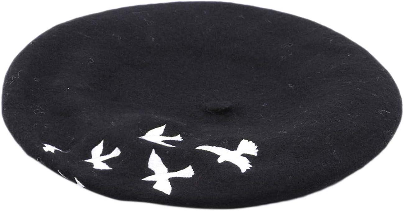 ZALING Exquisite Women Winter Wool Beret Hat Female Flat Cap Embroidery Birds Warm Berets Classic French Artist Cap