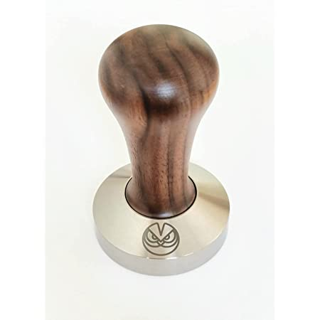 Espresso Tamper - 58.5 mm for IMS Competition Filter Baskets, Walnut and INOX Steel. Flat Bottom. Made in Italy.