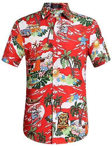 SSLR Herren Hemd Weihnachten Hawaiihemd Kurzarm Button Down Lustig Weihnachtsmann Gedruckt Freizeithemd (Large, Rot)