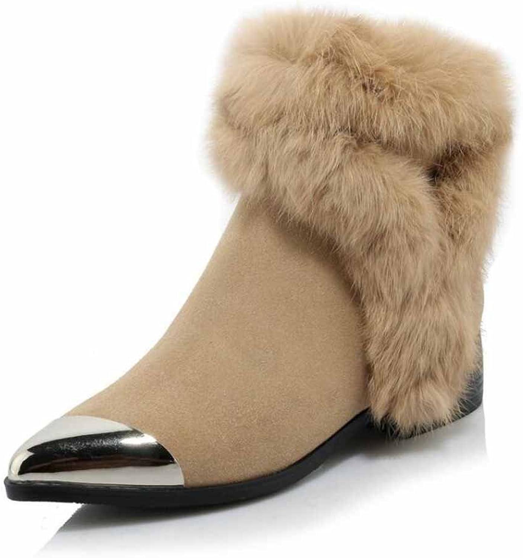 Kvinnor Snöskor varma Kaniner Hårstrå Hårstrå Hårstrå med lågt häl Klassiska skor med klor  online-återförsäljare