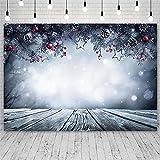 Foto Fondos Fondo de Feliz Navidad Campana D Invierno Flake Snow Bokeh Bokeh Boker Photo Studio Decor-1.5x3 m