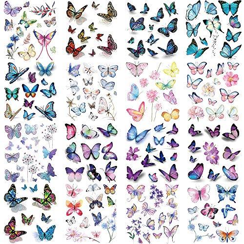 Lezed 3D Adesivo Tatuaggio Temporaneo Farfalla, Farfalla Tatuaggi Temporanei per Donna Uomo Body Art Impermeabile Temporanei Tatuaggi per Ragazza Bambini Festa di Compleanno Regalo, 16 Fogli