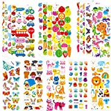 Stickers for Kids & Toddlers 500+ Puffy Stickers Variety Pack for Scrapbooking Bullet Journal Including Animal, Numbers, Fruits, Fish, Dinosaurs, Cars and More