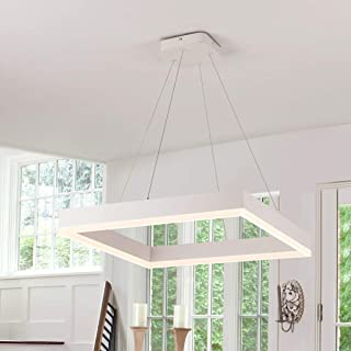 Royal Pearl Modern Foyer Pendant Light LED 1 Ring Contemporary Chandelier Square Shape Acrylic 43W 3440lm White for Bedroom Living Dining Room