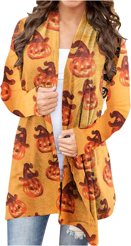 Long Halloween Cardigan Women Long Sleeve Open Front Graphic Lightweight Cardigan Sweater