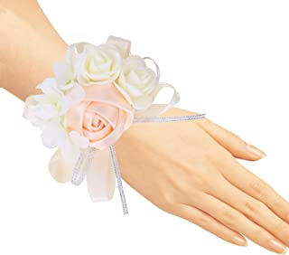 Pack of 4 Wedding Girl Bridesmaid Wrist Corsage Hand Flower Party Prom Accessories Champagne