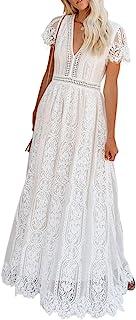 Bdcoco Women's V Neck Floral Lace Wedding Dress Short Sleeve Bridesmaid Evening Party Maxi Dress