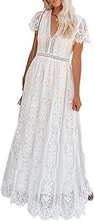 Women's V Neck Floral Lace Wedding Dress Short Sleeve...