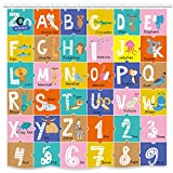 """UNIFEEL Alphabet Fabric Shower Curtain for Kids ABC Educational Learning Tool for Children and Babies Large A to Z Poster Tapestry Waterproof Polyester Bathroom Curtains 71""""71"""""""