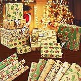 Joyoldelf Weihnachts Geschenkpapier,Geschenkverpackung Papier für Weihnachten,Kraft Geschenkpapier Geburtstag,Verschiedenen Mustern Retro Weihnachtspapier (41 x235 cm, 6 Blatt)