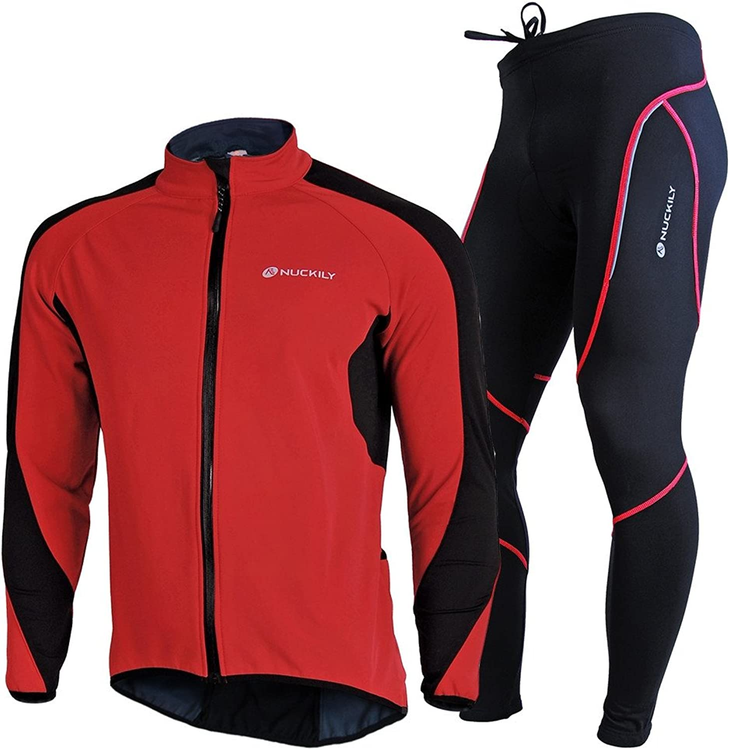 559326a85 NUCKILY Men's Bicycle Jersey Suit Windproof Riding Composite Fleece Jacket  Set Cycling Tights nzbtbv4388-Sporting goods