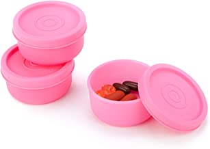 Signoraware Nano Round Small Plastic Container Set, 40ml, Set of 3, Pink