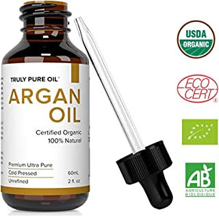 Truly Pure Oil Organic Argan Oil For Hair, Skin, Face and Nails, 100% Natural Argon, Cold Pressed, Unrefined, Eco & USDA Certified, Moroccan Anti-Aging Moisturizer, Anti-Wrinkle, Beauty Secret (2oz)