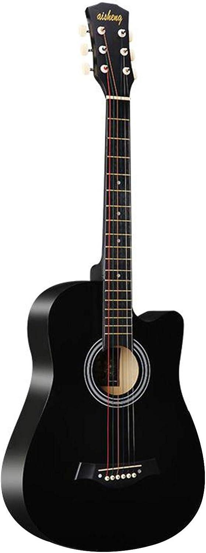 KEPOHK 38 '' Guitarra Acústica Folk Cortada de 6 Cuerdas para Adultos de Tamaño Completo para Estudiantes Principiantes (Madera) Negro