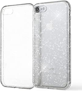 NALIA Glitter Cover Compatible with iPhone SE 2020/8 / 7 Case, Protective Sparkly Diamond See Through Silicone Gel Bumper, Bling Shockproof Rugged Mobile Protector Rubber Skin, Color:Transparent