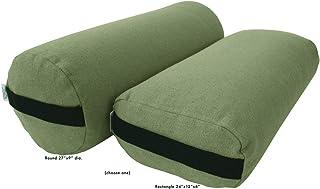 Bean Products Best Yoga Bolsters - Rectangle, Round Pranayama Support Cushions - Meditation Zafu Massage Prop - Organic Cotton, Cotton, Hemp Yoga Studio Vinyl - 3 Shapes - Made in USA