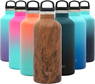 Simple Modern 32oz Ascent Water Bottle - Hydro Vacuum Insulated Tumbler Flask w/Handle Lid - Double Wall Stainless Steel Reusable - Leakproof Pattern: Wood Grain
