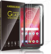 AMBBERDR [3-Pack] Screen Protector for Moto Z3 / Moto Z3 Play Tempered Glass Case-Friendly Premium HD Clarity Protective Protector with Lifetime Replacement Warranty