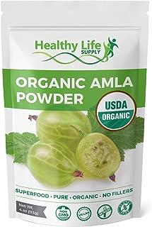 Healthy Life Supply Organic Amla Powder - USDA Organic - Non GMO Amalaki Berry Powder Indian Gooseberry - Superfood High ORAC (4 oz)